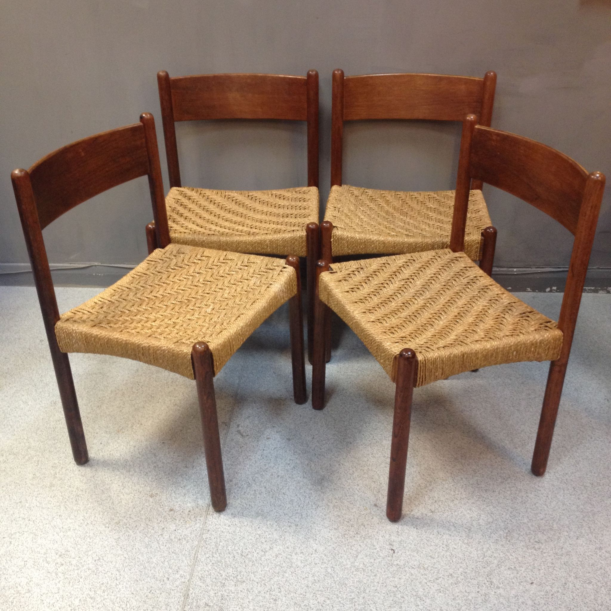 Century Danish Dining Chairs with Seagrass Seats